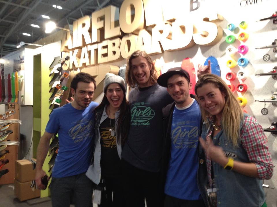 Martin Siegrist, me, Erik Lundberg, Simon Arsenidis & Carlota Martín at the Airflow Skateboards booth