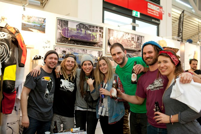 Maciej, Ian, me, Charlie, Alex, Sebastian & Janine drinking in the Bastl Boards booth. Pic Esther Suave.