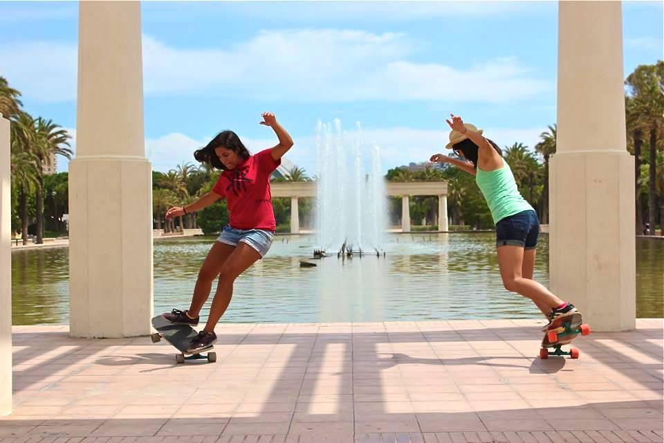 cindy zhou, neena schueller, spain, valencia, fun, longboard girls crew, longboard, cool
