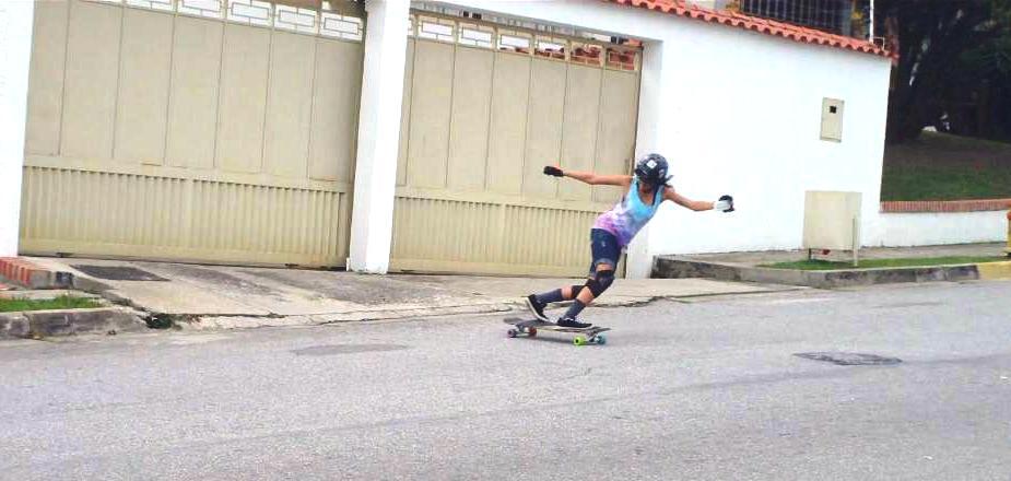 ana rodriguez, longboard girls crew. venezuela, longboard, girl, freeride, slide