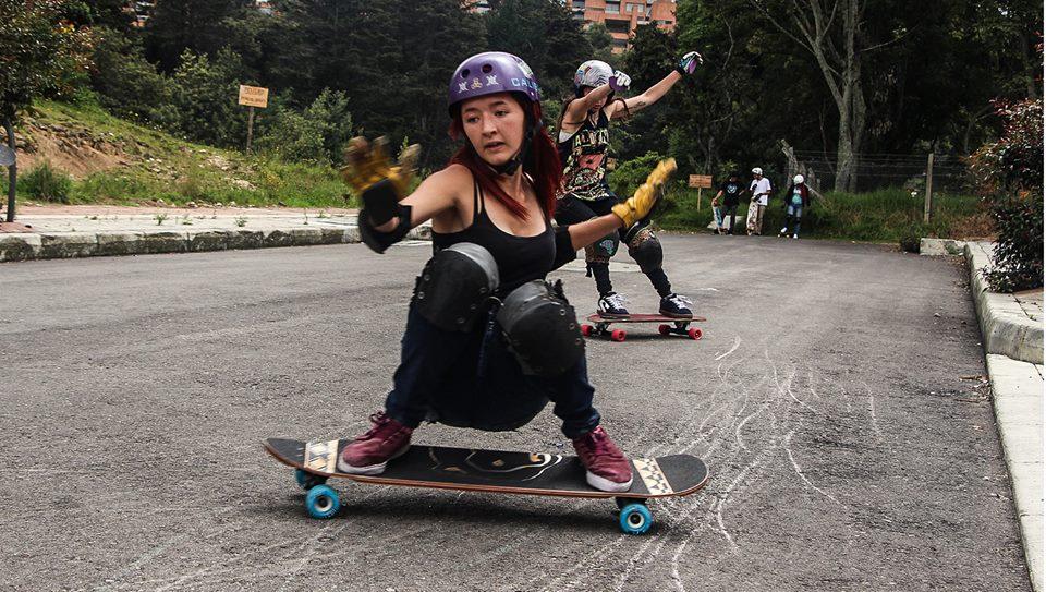 longboard girls crew, colombia, gina camel, chela giraldo, longboard, girls, slide