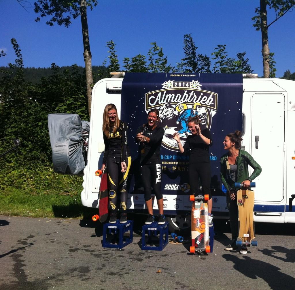 Almabtrieb 2014 Women's Podium, longboard girls crew, longboard, girl, downhill, almabtrieb, idf, race, badass
