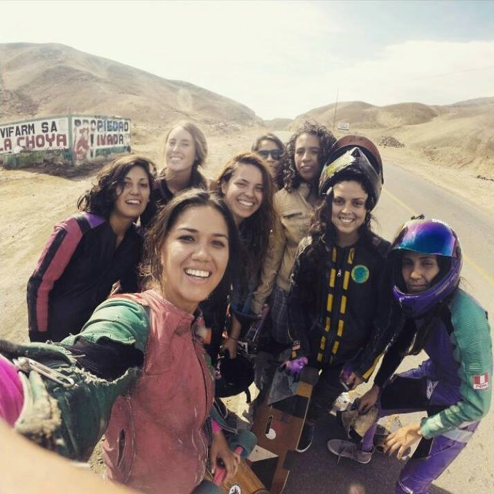 Vanni Kosmika, Josefa Porter Ekdahl, Valeria Sedano, Giorginna Ivanov, Shelly Aguilar, Jenni Gil and Graciela Perez Caceres, longboard girls crew, longboarding, skate, downhill skateboarding, strong women, rad, women power, women supporting women, cool, friends, friendship, leathers
