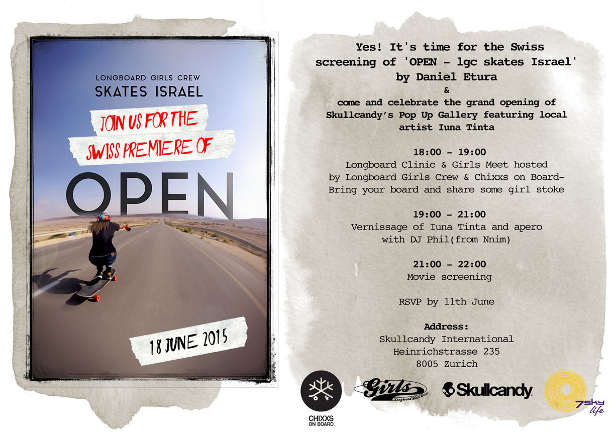 open, lgc skates israel, open movie, longboard girls crew, longboarding, skate, strong women, rad women, zurich, switzerland, skullcandy, 7skylife, chixxs on board, valeria kechichian, longboard clinic, girls meet, fun, rad, cool, summer, movie