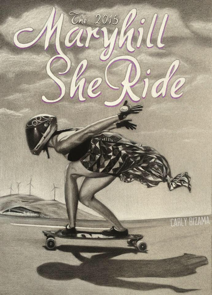 Maryhill She Ride Sketch Carly Bizama, longboard girls crew, longboarding, skate, downhill