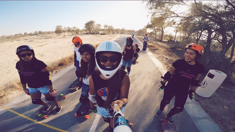 Longboard girls crew, longboarding, women, skate, skateboarding, downhill, girl, friends, fun, smiles