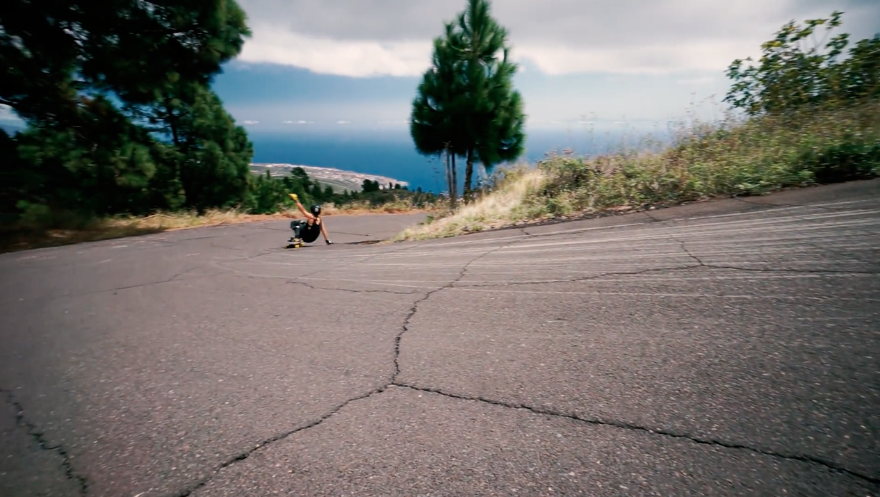 longboard girls crew, longboarding, skateboarding, downhill, freeride, canary islands, guancha, laura rodriguez, rad, epic, mountain, nature, strong, cool,