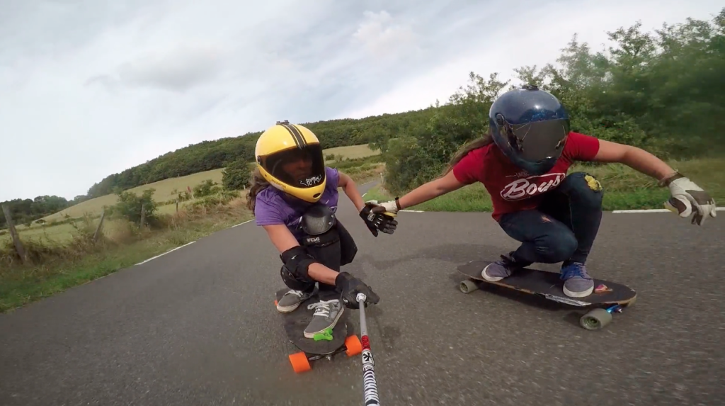 longboard girls crew, longboarding, skate, skateboarding, downhill skateboarding, girls, women, strong, cool, power, fast, rad, full face, helmet, raw run, lyde begue, rachel bagels, lyon, france, lgc, skate like a girl, sun, summer, joy, life