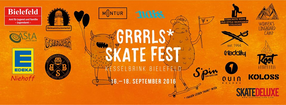 longboard girls crew, grrrrls skate fest, girls in longboarding, festival, germany, bielefeld, skate, skateboarding, trans, gay, lesbian, welcome, celebration, love, gender equality